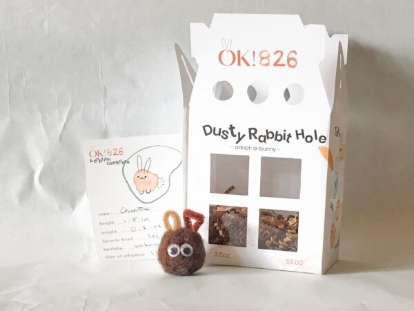 Dust bunny sample and packaging