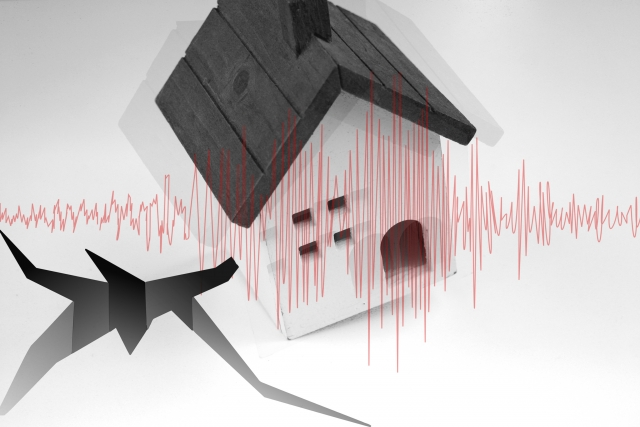 地震に襲われる家