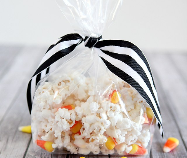 White Chocolate Candy Corn Popcorn Halloween Treats