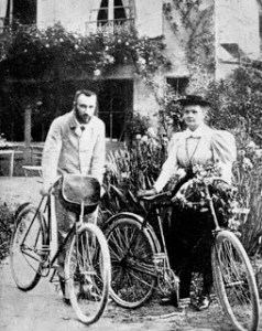 In addition to being scientific pioneers, the Curies were bicycle enthusiasts. They used the money from their wedding to purchase bicycles to use on their honeymoon. (Photo courtesy of : http://0.tqn.com/d/womenshistory/1/0/Q/z/2/Marie-Curie-Honeymoon-3208447a.png)