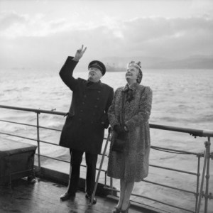 "Winston and Clementine Churchill saluting the troops aboard the RMS ""Queen Mary"" in 1943. (Image courtesy of: http://www.stevenujifusa.com/wp-content/uploads/2012/11/7435172.jpg)"