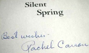 signed book Signed title page in Silent Spring. Image courtesy of: www.ehistorybuff.com