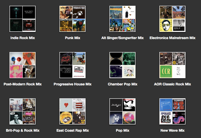 Screen capture of iTunes genius mixes
