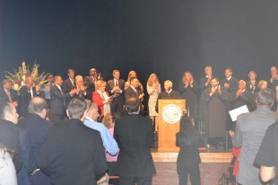 Justice James Hardesty received a standing ovation