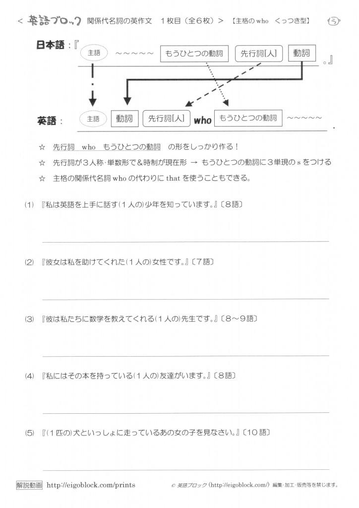 関係代名詞の英作文1