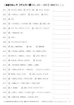 英語ブロック 20語ずつ英単語テスト No.201~300