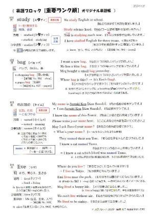 英語ブロック オリジナル英単語帳 No.101~200