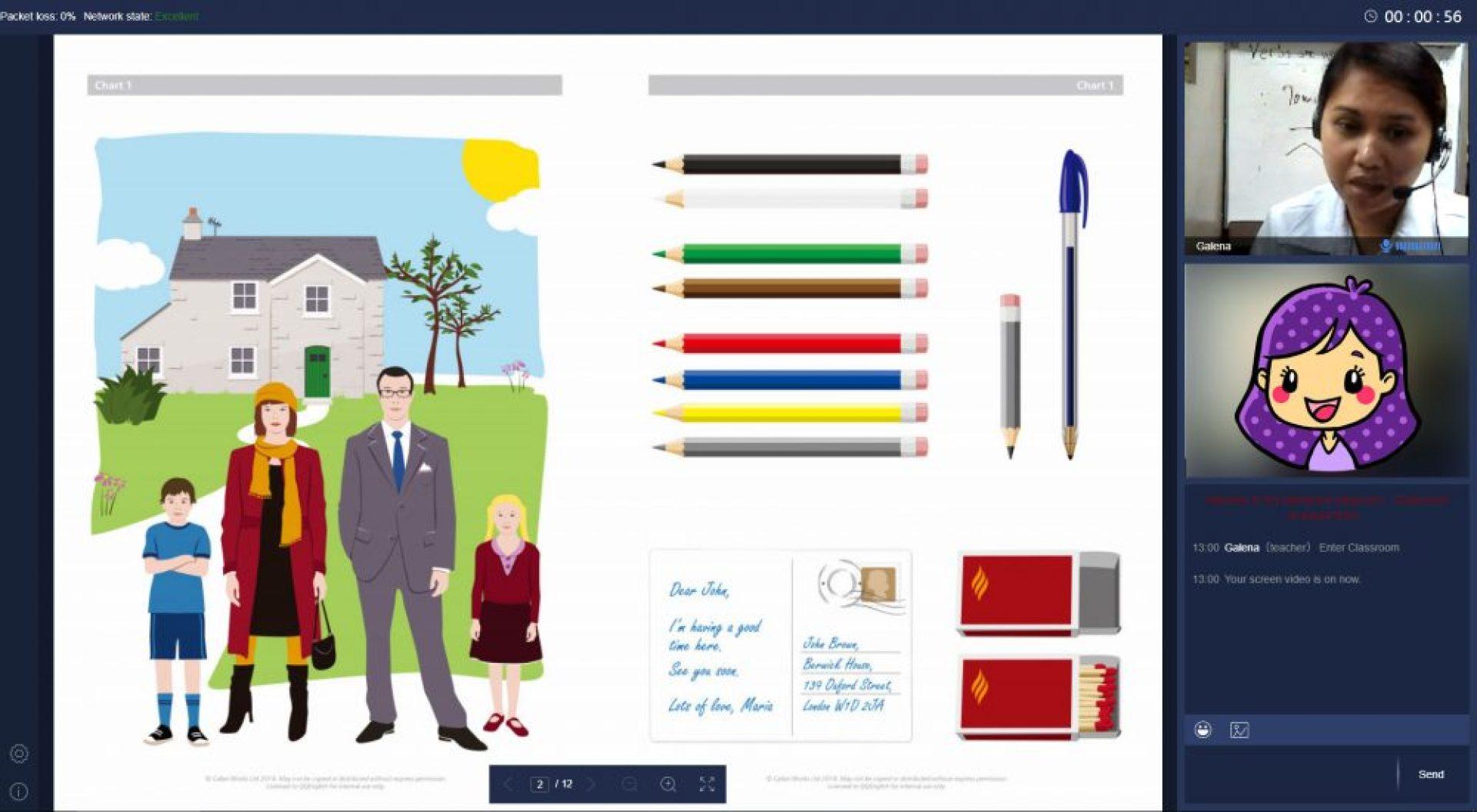 QQEnglishのカランメソッドのレッスン風景の画像