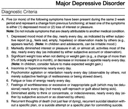 what is depression dsm