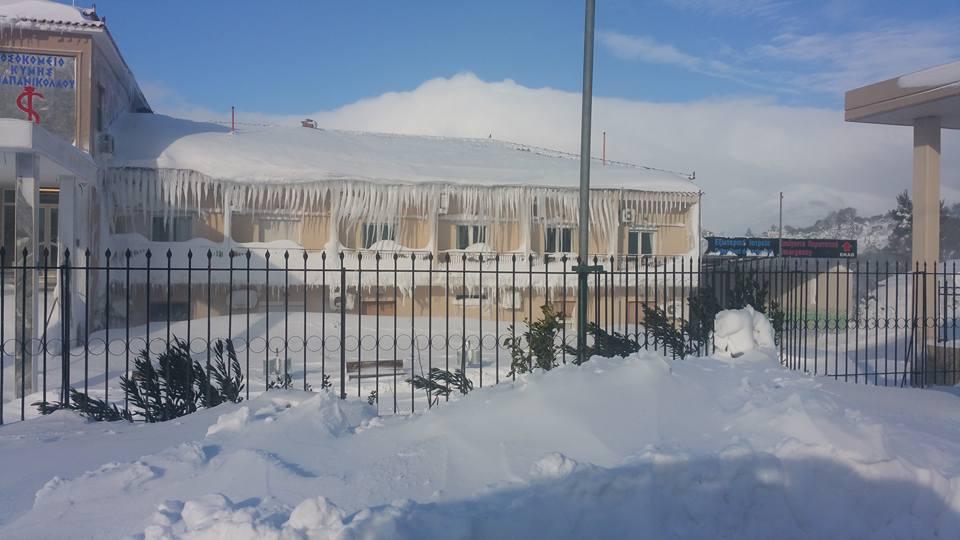 Χιόνια στην Εύβοια:Tο νοσοκομείο της Κύμης μοιάζει με «ιγκλού»