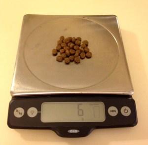 Weighing kibble