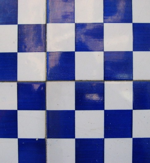 Blue and white checkered tiles