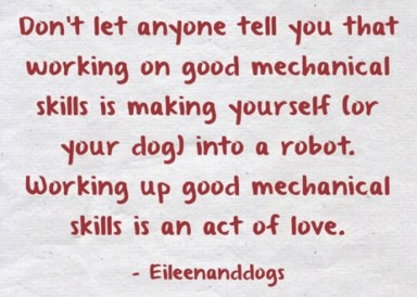 """Poster: """"Don't let anyone tell you that working on good mechanical skills is making yoerself (or your dog) into a robot. Working up good mechanical skills is an act of love."""