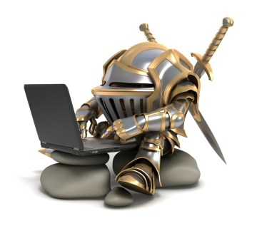 cartoon of short creature in armor typing on a keyboard. Trolls like to get people to argue