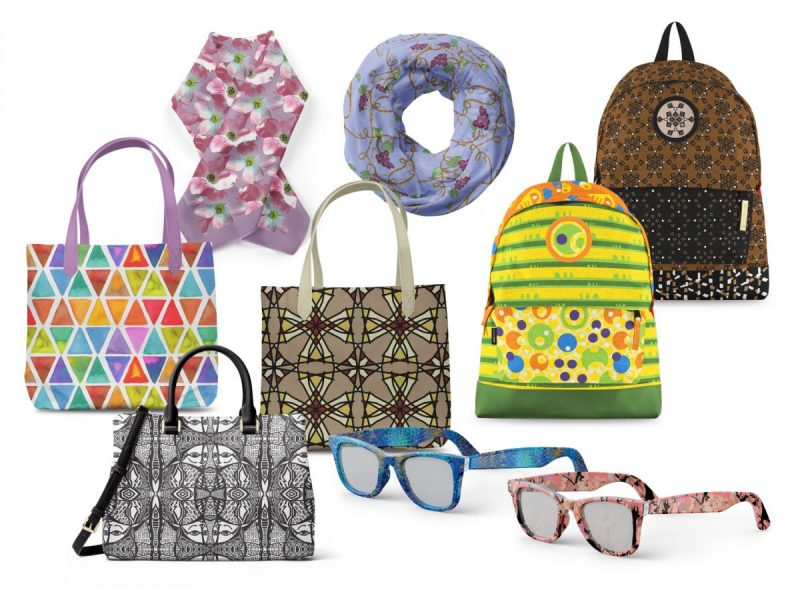 Print Pattern Designs on Fashion Accessories including bags, scarves, and sun glasses