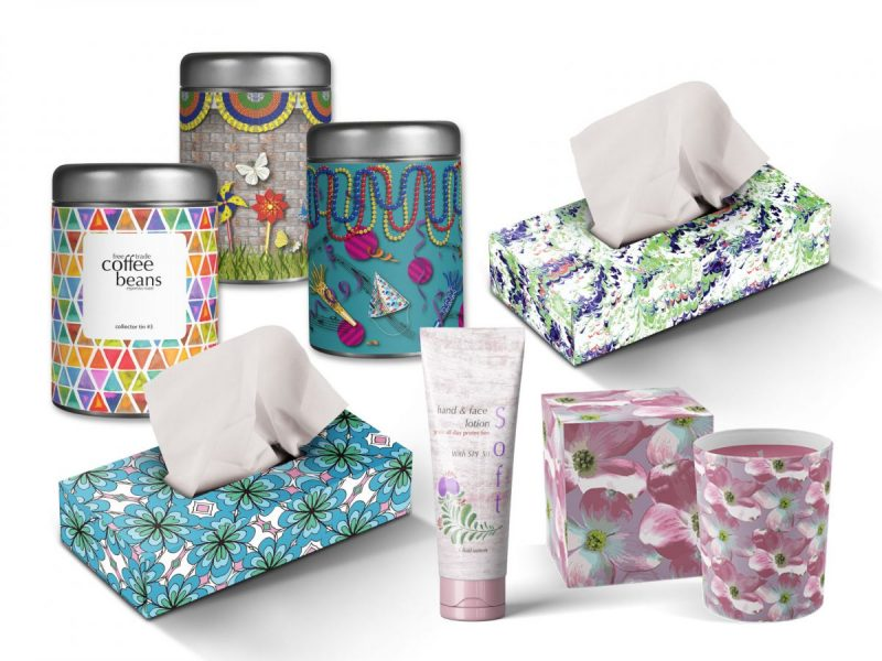 Print and Pattern Designs show on various packaging types