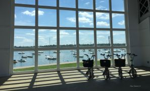 The teams were cooperating on photos early in the day #1 Lake Harriet Bandshell