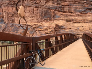 The bike/ped bridge over the Colorado has some nice public art touches