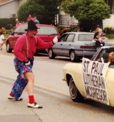 Two members at my McGregor congregation had been clowns, and convinced me to do it for the town parade.