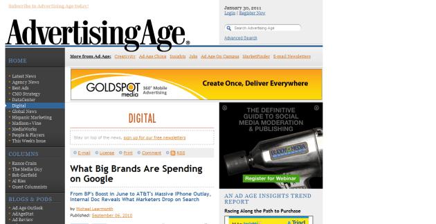 Página web de Adverstising Age