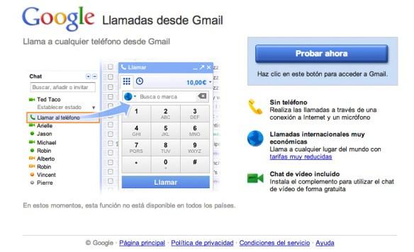 Captura de pantalla de las llamadas de Gmail