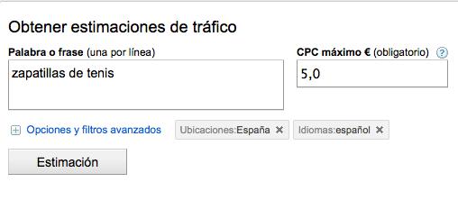 Oferta de CPC en el Estimador de tráfico
