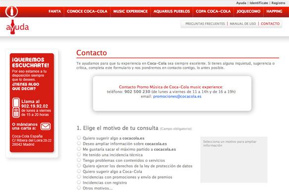 Fragmento de la captura de pantalla de la pagina de contacto de Coca-Cola