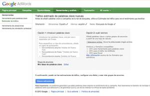 El estimador de trafico de Google AdWords