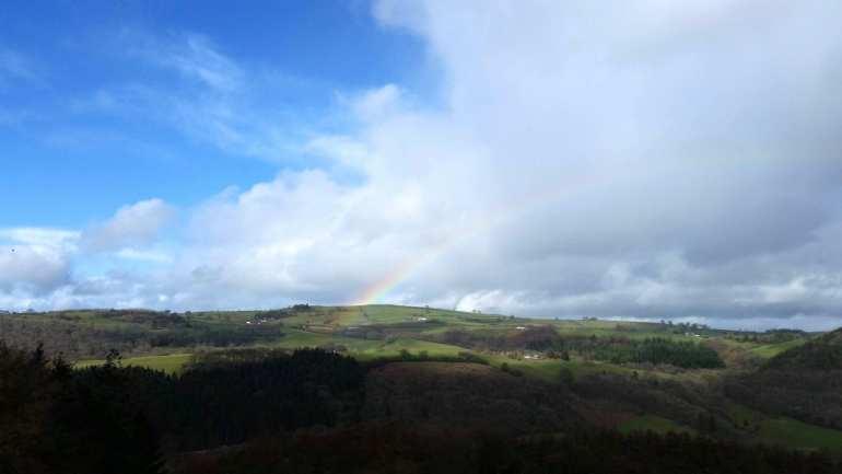 Rainbow over Welsh hills