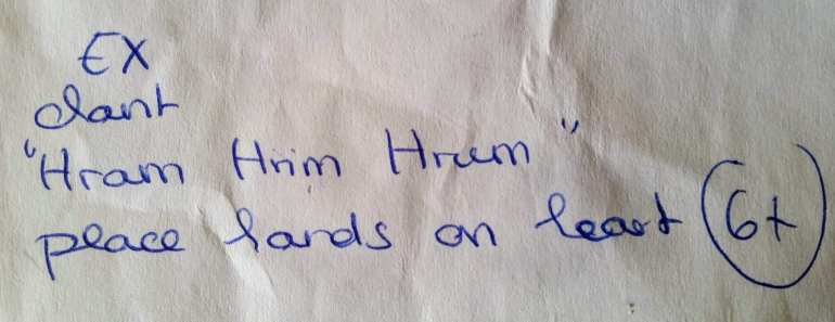 Written instructions to chant 'Hram Hrim Hrum' for yoga