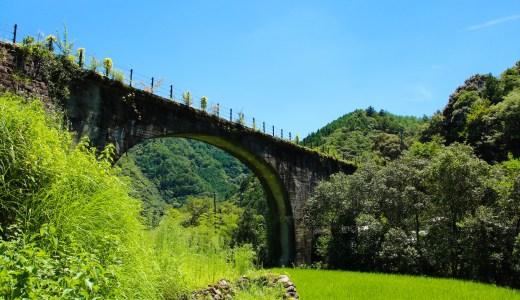 下津井めがね橋|ノスタルジックな雰囲気。四万十町のトロッコ列車軌道橋(森林鉄道)