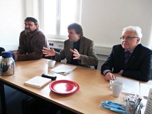 Jörg Wolkenhauer (Grüne), Uwe Schwarz und Martin Wehner (beide SPD) heute beim Pressegespräch.