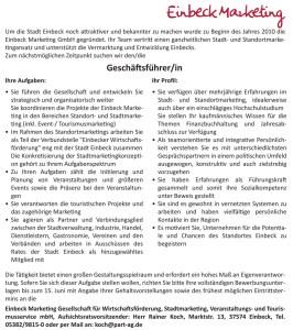 Stellenausschreibung von Einbeck Marketing.
