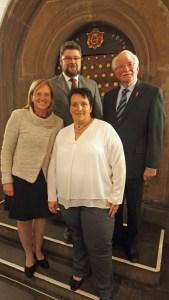 Bürgermeister-Quartett: Bürgermeisterin Dr. Sabine Michalek (links) mit ihren neuen ehrenamtlichen Stellvertretern Marcus Seidel (SPD), Antje Sölter (CDU) und Albert Thormann (re., GfE).