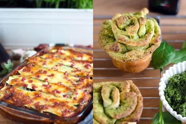 Zucchini statt Lasagne und pull-apart-breadflowers. Recipes also in english. www.einepriselecker.de