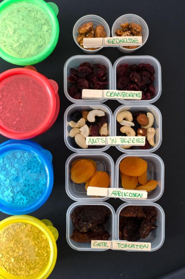 meal-prep für Oatmeal-Pudding und 100 Kaloriensnackboxen