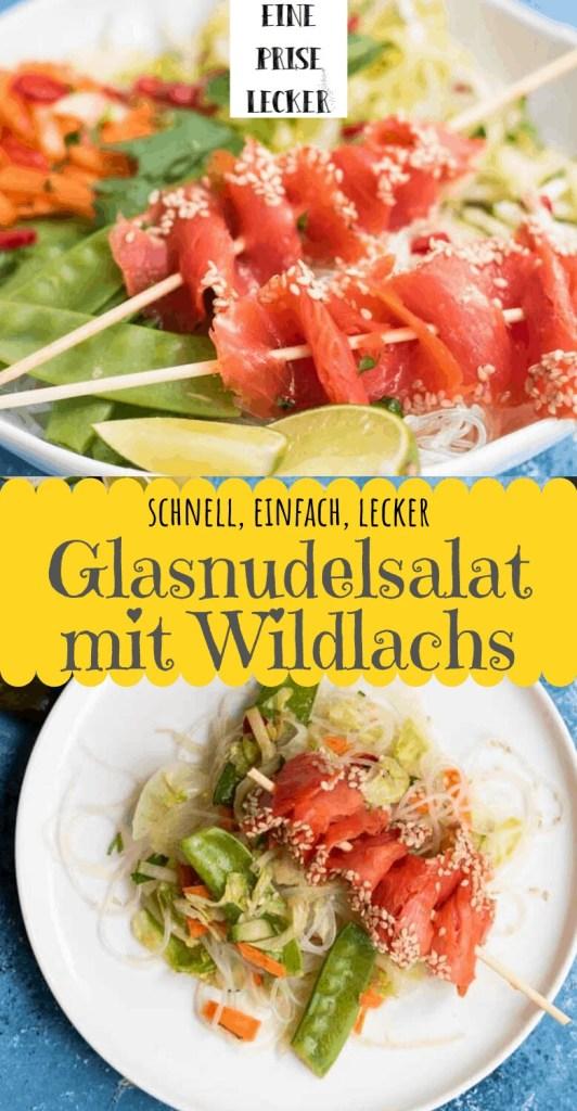Collage mit zwei Bildern von Gasnudelsalat mit Wildlachs und Text in der Mitte.