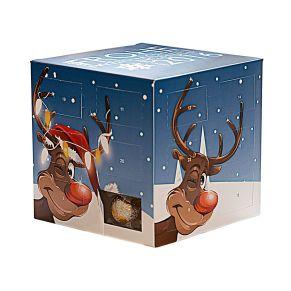 Mit verschiedenen Weihnachtsmotiven. Alpenvollmilch-Schokolade (Kakao: 30% mindestens), gefüllt mit 24 hochfeinen Mini-Schokoladenkügelchen aus dem Hause Lindt & Sprüngli in 5 verschiedenen Geschmacksrichtungen, Maße: ca. B10 x T10 x H10 cm. Zutaten: Zucker, Kakaobutter, VOLLMILCHPULVER, Kakaomasse, MILCHZUCKER, MAGERMILCHPULVER, Emulgator: SOJALECITHIN, GERSTENMALZEXTRAKT, , BUTTERREINFETT, Aroma. Allergiehinweis: Kann Spuren von Haselnüssen und Mandeln enthalten.<br>