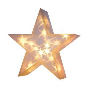 Innen mit warmweißen LEDs bestückt, die die 3D-Sterne erstrahlen lassen. Nur für den Innenbereich geeignet. Nur für Indoor-Einsatz geeignet, Leuchtmittel: 20 warmweiße LEDs, Batterien: Betrieb mit 3 Mignonbatterien (nicht inklusive), Maße: ca. 10 cm tief, 36 cm Ø.<br>
