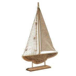 Zur Unterstützung des maritimen Flairs, darf dieses detailreiche Segelboot nicht fehlen. Von Hand gefertigt, Maße: ca. L43 x B8,5 x H65,5 cm, Gewicht: ca. 1,6 kg, Material: Holz.<br>