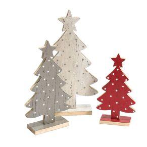 Dieses weihnachtliche Tannen-Set mit Tupfen-Dessin ist ein Hingucker für die Advents- und Weihnachtsdeko. Winterliche Farbkombi in weiß, rot und grau, Maße: ca. 29/ 23,5/ 19 cm hoch, Gewicht: ca. 0,5 kg, Material: Holz.<br>