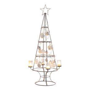 Deko-Objekt Weihnachtsbaum Zahlreiche Ösen zum Andekorieren, mit 4 Windlichtern, Maße: Baum ca. 150 cm hoch, 65 cm Ø, Gewicht: ca. 3,6 kg, Material: Metall, Glas.<br>