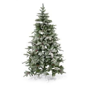 Eine tolle Alternative zum herkömmlichen Tannenbaum. Verblüfft durch große Ähnlichkeit mit echtem Exemplar, verliert keine Nadeln, mit Kunstschnee und Zapfen dekoriert, Maße: ca. 180 cm hoch, 100 cm Ø, Gewicht: ca. 7,5 kg, Material: Polyethylen, PVC.<br>