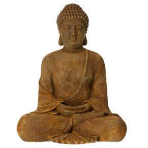 Buddhafigur mit Rostfinish. Für Outdoor-Einsatz geeignet, Maße: ca. L23 x T17 x H30 cm, Gewicht: ca. 2,4 kg, Material: Polyresin.<br>