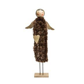Bezaubernder Engel mit schimmernden Flügeln und Herz. Maße: ca. 52 cm hoch, Gewicht: ca. 0,7 kg, Material: MDF, Wolle.<br>