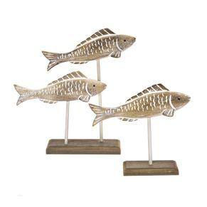 Diese drei Fische eignen sich sehr gut, um maritimes Flair zu bringen. Das Set besteht aus drei Fischen auf zwei Sockeln, Maße: Klein ca. Länge 22,5 x Breite 7 x Höhe 20 cm, Groß ca. Länge 30,5 x Breite 8,5 x Höhe 30 cm, Gewicht: ca. 1,2 kg, Material: MDF.<br>