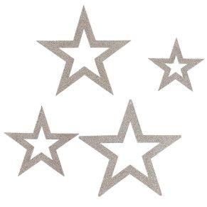 Dekorieren Sie ihr Schaufenster oder erfreuen Sie ihre Kunden mit diesem schönen Give-Away. Dekohänger-Set, 4-tlg., Maße: Sterne ca. 28 cm, 24 cm, 19 cm und 15 cm Ø, Material: Pappe.<br>
