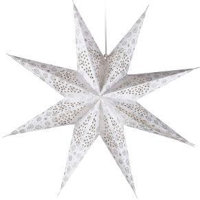 Aus festem Papier mit filigranen Lochmustern und zusätzlich mit Lichterketten zu bestücken. Somit nicht nur als Deko-Objekt zu hängen, sondern auch als Lichtquelle. Neun Zacken, mit glitzerndem, silberfarbenem Dekor, ohne Lichterkette, Maße: ca. 60 cm Ø, Material: Papier.<br>