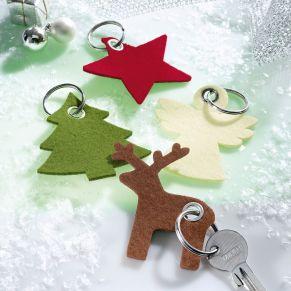 Trendige Filz-Schlüsselanhänger in aktuellen weihnachtlichen Formen. Inklusive Schlüsselring.<br>