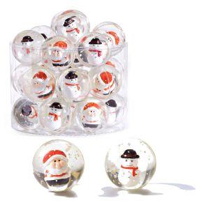 Set aus 24 Flummis im weihnachtlichen Design mit Weihnachtsmännern und Schneemännern umgeben von Schneeflocken. Nicht geeignet für Kinder unter 3 Jahren. Maße: je ca. 3,8 cm Ø, Gewicht: ca. 0,6 kg, Material: Kunststoff.<br>